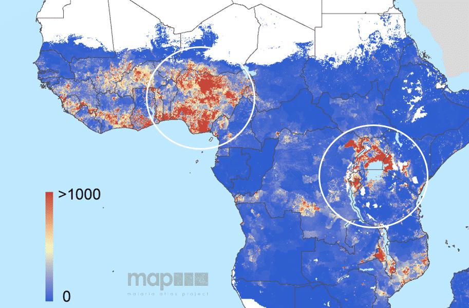 Carte des nouveaux cas de paludisme